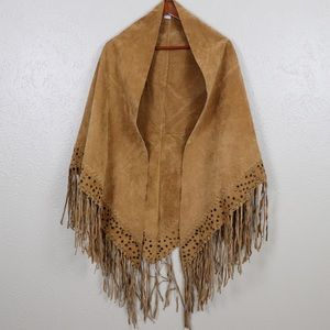 New Port News  Western Fringe Suede Leather Poncho